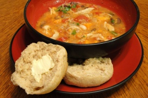 quick whole wheat rolls with hearty chicken and sweet potato stew